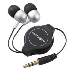ステレオイヤホン カナル型 コード巻取式 AudioComm HP-B161N 03-2246 オーム電機