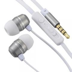 AudioComm ステレオイヤホン スマホ対応 マイク付 ボリュームコントローラー付 シルバー_HP-B163N-S 03-2255
