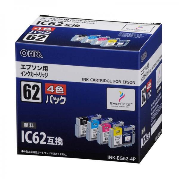 エプソン IC4CL62対応 互換インクカートリッジ 4色パック INK-EG62-4P 01-3176