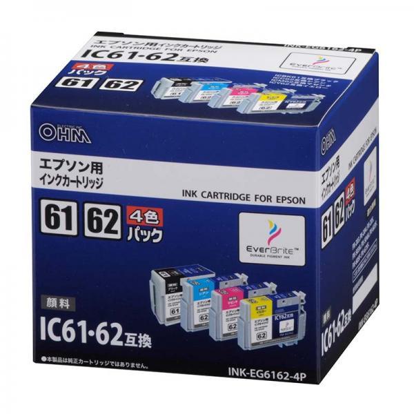 エプソン IC61・62対応 互換インクカートリッジ 4色パック INK-EG6162-4P 01-3177