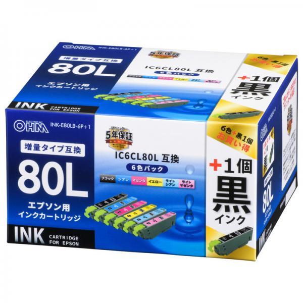 【黒インク1個プラス】 エプソン互換インク IC6CL80L対応 6色_INK-E80LB-6P+1 01-4259