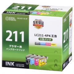 OHM ブラザー LC211-4P対応 互換インクカートリッジ 4色パック INK-B211B-4P 01-4274