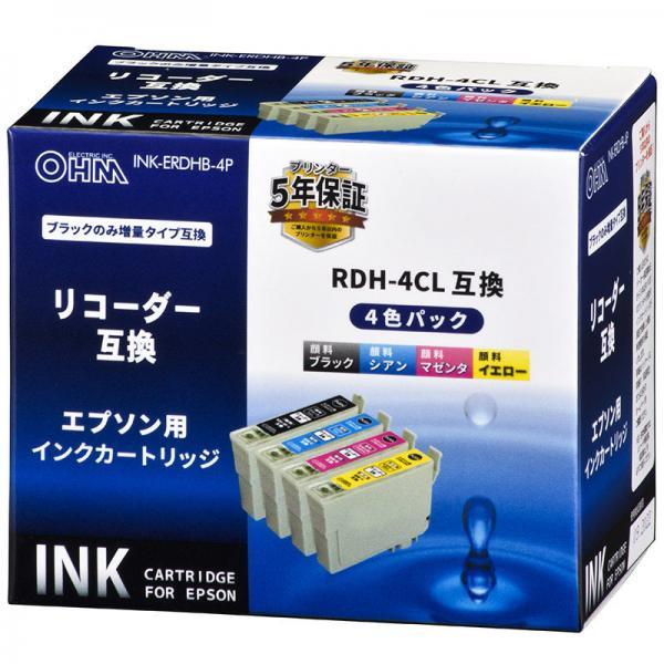 エプソン リコーダー RDH-4CL対応 互換インクカートリッジ 4色パック INK-ERDHB-4P 01-4312