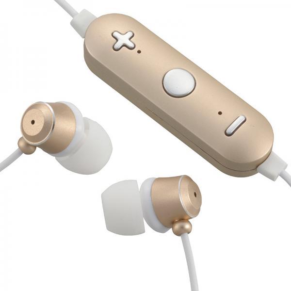 ワイヤレスイヤホン ステレオイヤホン スマホ対応 音漏れ低減密閉型 ゴールド AudioComm HP-WBT180Z-N 03-1678
