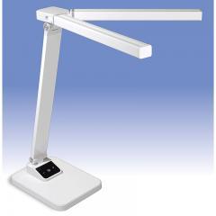 LEDデスクライト 調光式 可動式ツインセード ホワイト_DS-LD65A-W 06-1908