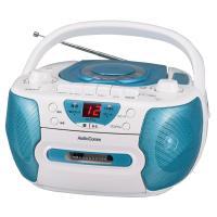 【送料無料】CDラジカセ ワイドFM対応 ブルー AudioComm RCD-595N-A 07-7794