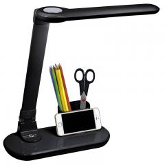 【数量限定】LED調光式デスクライト USB充電機能付 小物入れ付 ブラック 黒_DS-LD32AH-K 07-8520 【5%OFFクーポンコード:V6DZHN5】