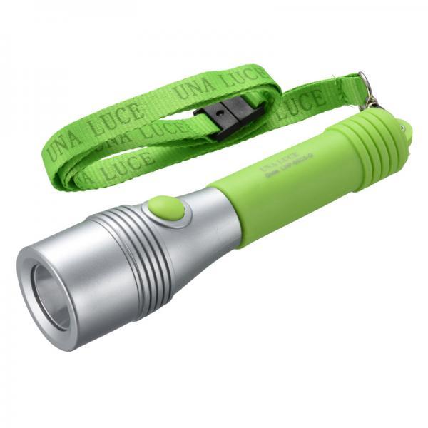 10%OFFクーポン対象商品 LED懐中電灯 50lm 単3×2本 ネックストラップ付 ウナルーチェ2_LHP-05C5-G 07-8916 クーポンコード:KZUZN2T