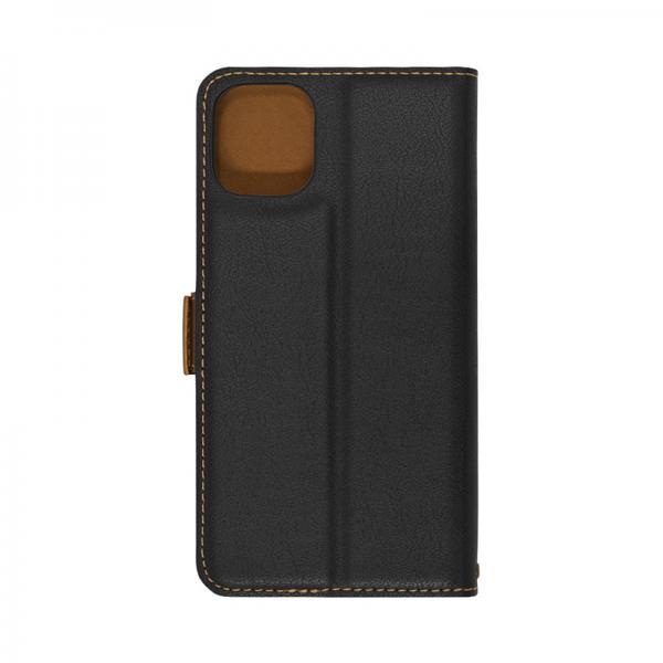ラスタバナナ スマホケース iPhone11Pro 手帳型 +COLOR 耐衝撃吸収 薄型 サイドマグネット BK×DBR|4928IP958BO 15-8339