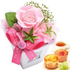 お祝い 内祝い 誕生日プレゼント ギフト 送料無料 薔薇プリザエッフェル【ピンク】&スイーツset ※14時までの注文で即日発送 imo