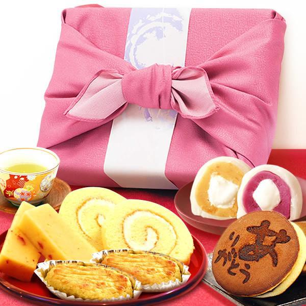 お祝い 内祝い 誕生日プレゼント バレンタイン 2020 ギフト 送料無料 お菓子 洋菓子 和菓子 ギフトセット 詰め合わせ 竹かご風呂敷 ありがとう入り (ピンク)