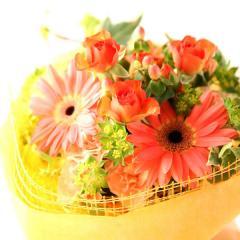 【ご予約・お中元ギフト】幸せ贈る♪花束&シフォンケーキセット【オレンジ】※7/3以降で届け日をご指定下さい