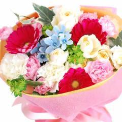 【ご予約・お中元ギフト】幸せ贈る♪花束&シフォンケーキセット【ミックスカラー】※7/3以降で届け日をご指定下さい