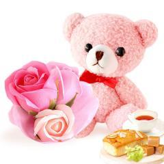 ギフト 送料無料 誕生日プレゼント シャボンフラワー ハートフルレターベア【ピンク】 ※14時までの注文即日発送OK