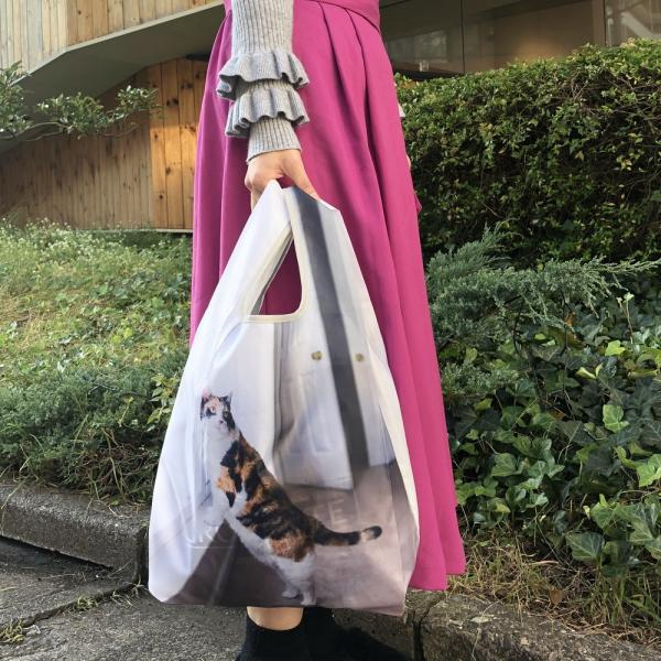 3428 ルートート(ROOTOTE)/ EU.ルーショッパーREG.フォト-R(04:トリコロール)エコバッグ お買い物バッグ コンパクト 猫 ネコ