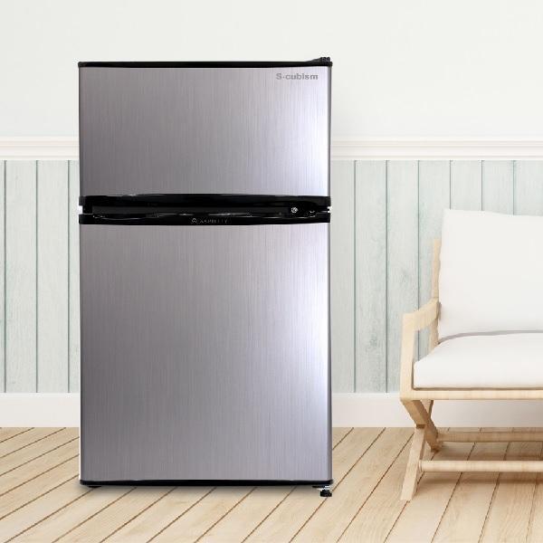 冷蔵庫 2ドア 90L シルバーヘアライン WR-2090SL エスキュービズム