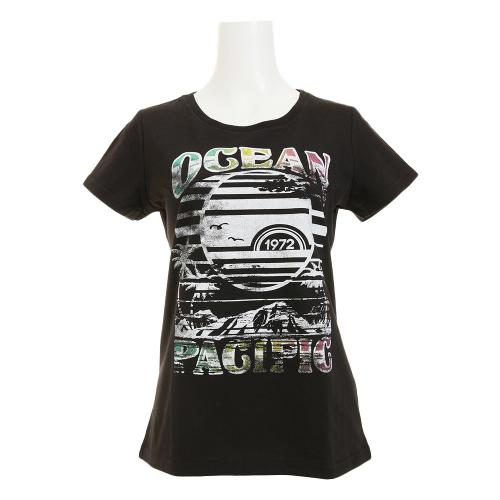 オーシャンパシフィック(Ocean Pacific) カラフルロゴ 半袖Tシャツ 526554 D BLK(Lady's)