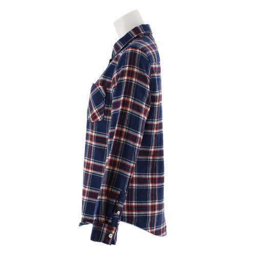 クー(Coo.) ネルチェックロングスリーブシャツ 872Q7CG2418 NVY (Lady's)