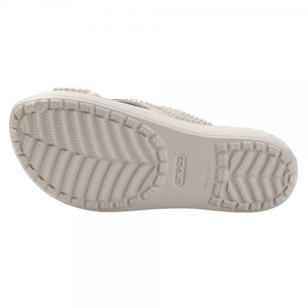 クロックス(crocs) シャワーサンダル スローン エンベリッシュド エックスストラップ プラチナ #204084-018(Lady's)