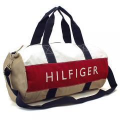 トミーヒルフィガー TOMMY HILFIGER ボストンバッグ(ショルダー付) 6928341:カーキ×ホワイト×レッド