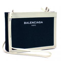 バレンシアガ BALENCIAGA ネイビーポシェット NAVY POCHETTE AJ クラッチバッグ(ショルダー付) 339937 ネイビー×ホワイト(4092)