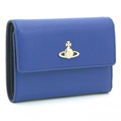 ヴィヴィアンウエストウッド Vivienne Westwood サフィアーノ SAFFIANO 三つ折り財布 51070002 40153 ブルー