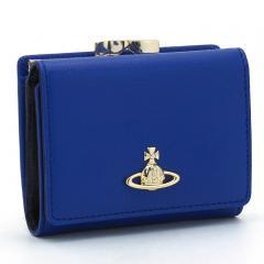 ヴィヴィアンウエストウッド Vivienne Westwood サフィアーノ SAFFIANO 三つ折りがま口財布 51010018 40153 ブルー