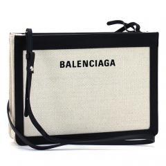 バレンシアガ BALENCIAGA ネイビーポシェット NAVY POCHETTE AJ クラッチバッグ(ショルダー付) 339937 AQ37N 2018AW ナチュラル×ブラック(1080)