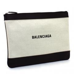 バレンシアガ BALENCIAGA  ポーチ 420407 AQ37N ナチュラル×ブラック(1080)