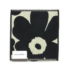 マリメッコ marimekko タオルハンカチ/フェイスクロス/ミニタオル 25×25cm 63837/68030 UNIKKO ブラック/サンド