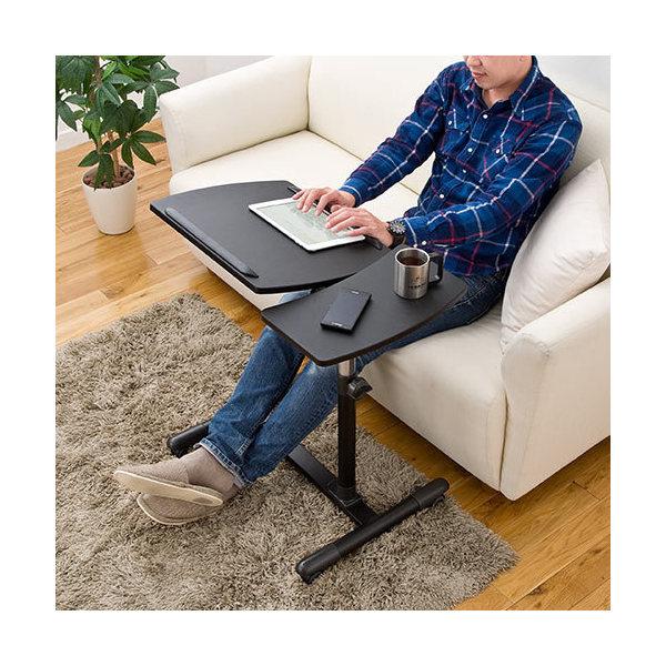 サイドテーブル 高さ&角度調整 ノートパソコンスタンド ブラック 100-DESK040M 木目調 ブラウン