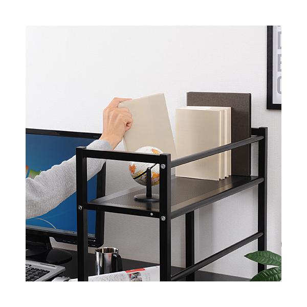 シェルフ付パソコンデスク(ガラス天板・ホワイト) 100-DESK084W