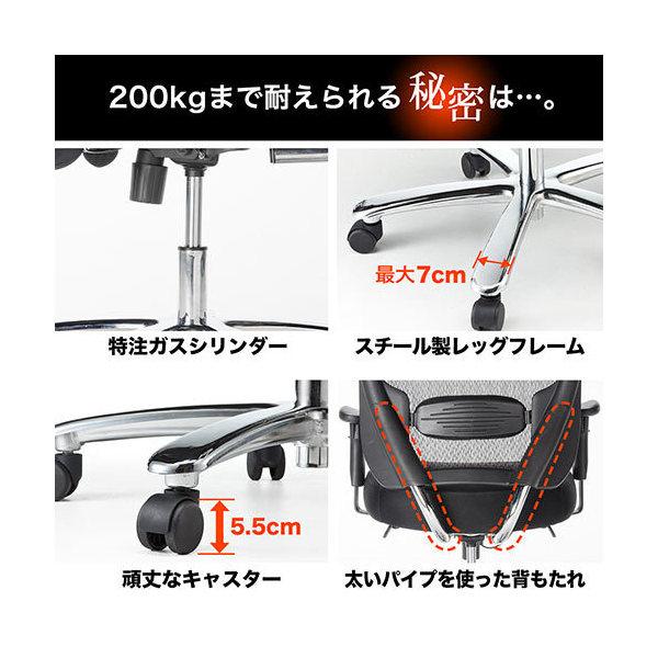 頑丈 メッシュチェア 耐荷重200kg ロッキング機構 ランバーサポート 肘置き付き 150-SNCM001