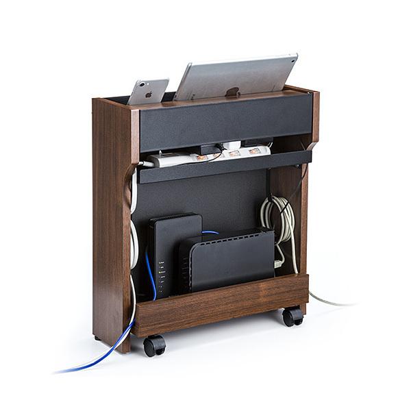 電源タップ ケーブル収納ボックス ダークブラウン 200-CB007DM