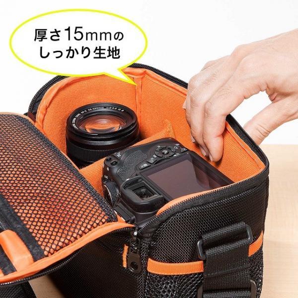 カメラバッグ 小型 一眼レフカメラ ミラーレス一眼 交換レンズ ダブルズームキット 収納 200-DGBG008BK