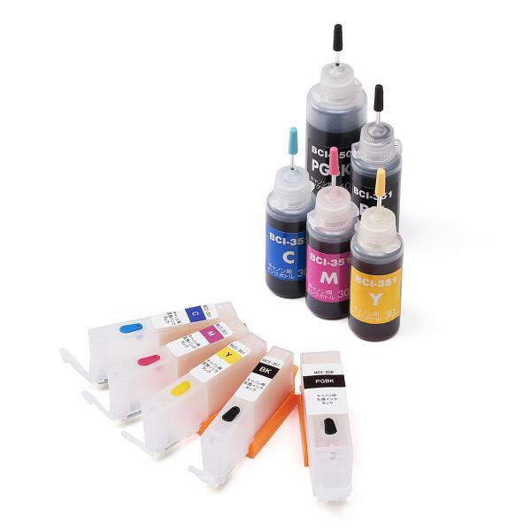 互換インク キャノン BCI-351+350対応 汎用インクカートリッジ+詰め替えインクセット(5色セット・BCI-350・351用約3回分) 300-C350S5C
