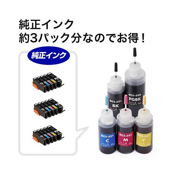 リセッター付き!キャノン BCI-351+350/5MP対応詰替えインク(5色セット・標準5回分/大容量3回分) 300-C350S5R