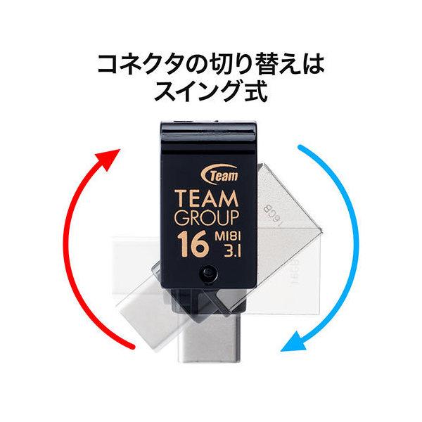 USBメモリー 16GB USB Type-C / USB Aコネクタ USB3.1 (Gen1) スイング式 600-3TC16GN2