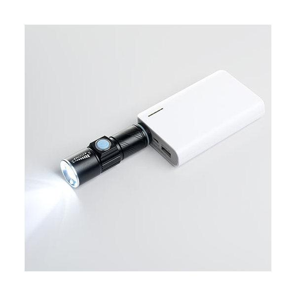 防水 LED懐中電灯 USB充電式 IPX4 輝度120ルーメン 小型 ハンディライト 800-LED017