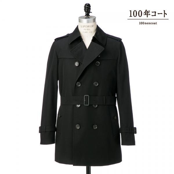 <100年コート>ショートトレンチコート三陽格子/ブラック/S