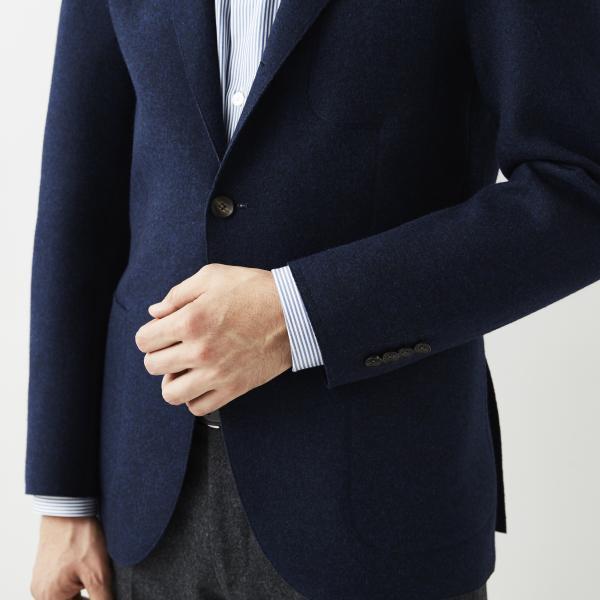 【MENS】ダブルフェイス3つボタン段返りジャケット/ネイビー/50