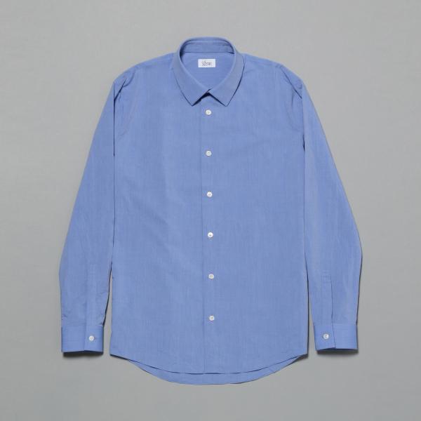【MENS】スーピマコットン タイプライター ステッチレスシャツ/サックス/46
