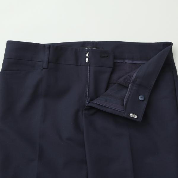 【ウォッシャブル】綿レーヨン二重織ストレッチスティックパンツ/ネイビー/40
