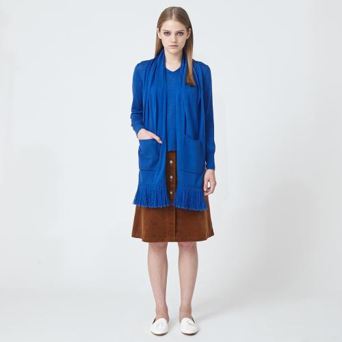 【ウォッシャブル】バイヤスコールフロントボタンスカート/ネイビー/38