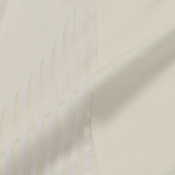 【ウォッシャブル】レイヤードストライプカットソー/オフホワイト/42