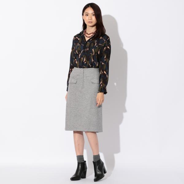 【ウォッシャブル】ストレッチリバーポンチスカート/ネイビー/40