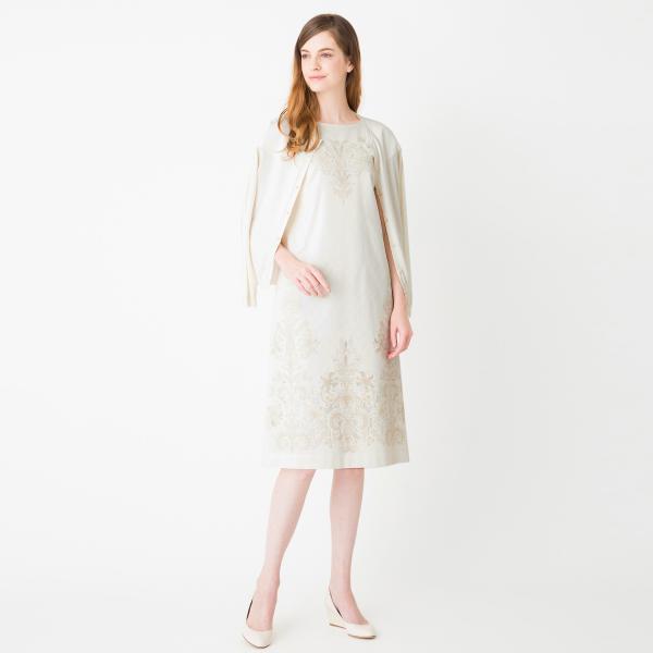ROSSI オパールプリントサックドレス/オフホワイト/38