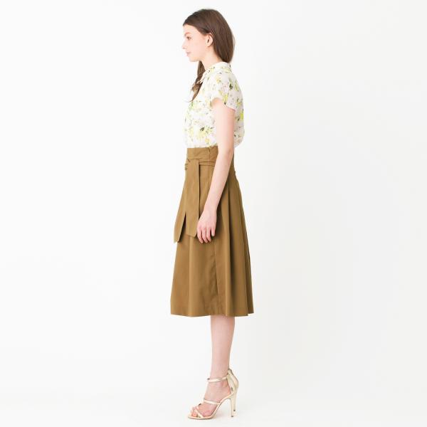 ボタニカルプリントフレアシャツ衿ブラウス/ブラックネイビー/38