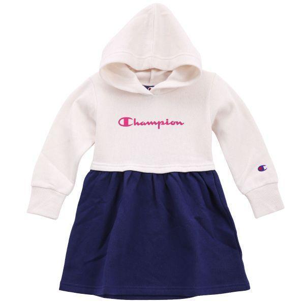 08eaae5a9d23d (チャンピオン)Champion キッズ ジュニア 女の子 フード付き ワンピース ルームウェア 裏起毛 長袖 子供