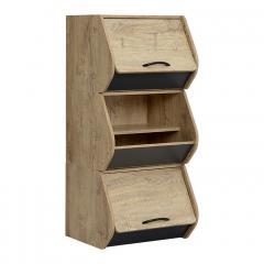 レイアウト自由自在/スタッキング可能 カラーボックス 収納BOX 木製 スタッキングBOX スタッキングボックス おしゃれ 収納ボックス LOG(ログ) ウッドナチュラル/ダークグレー